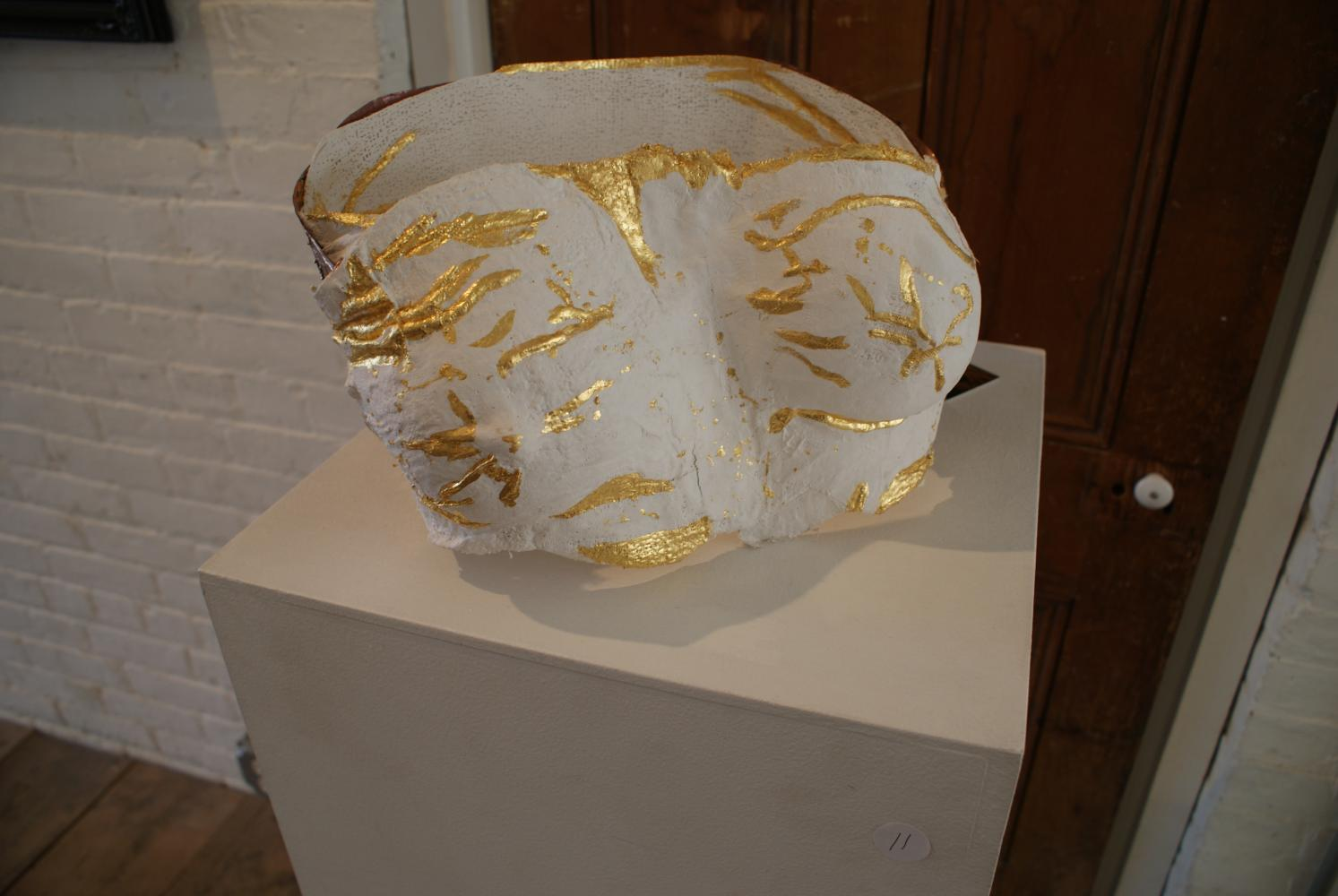 "Fragility to Resilience   Plaster, gauze, copper and *24k gold leaf  - 12""W X 10""H X 7""D"